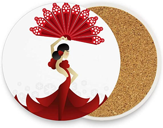 Posavasos de cerámica con diseño de bailarina española con ventilador redondo, absorbente, para bebidas, posavasos de café, para casa, oficina, bar, cocina (juego de 1), cerámica, multicolor, Set of 1: Amazon.es: Hogar