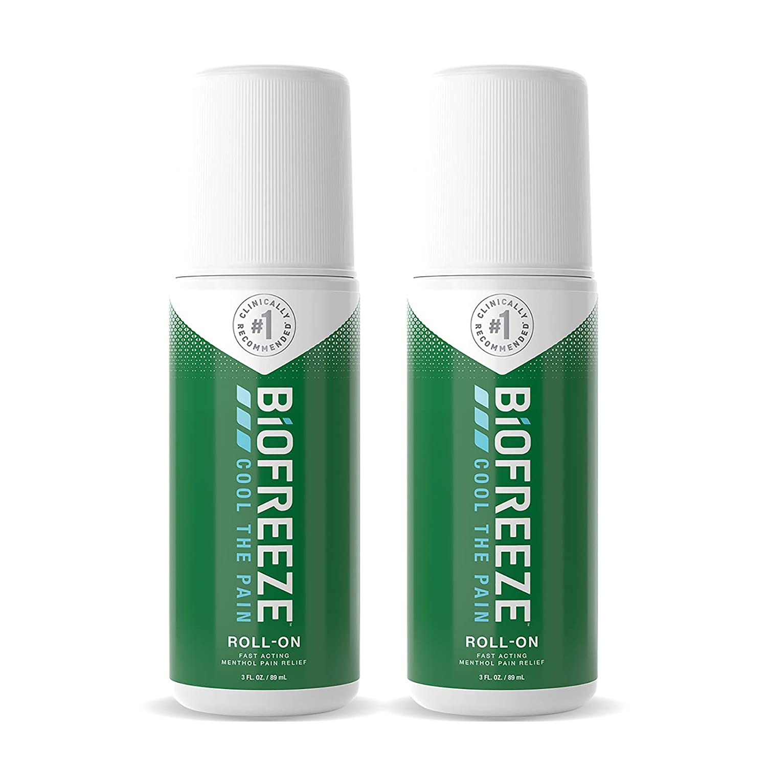Biofreeze Pain Relief Roll-On, 3 oz. Roll-On, Fast Acting, Long Lasting, & Powerful Topical Pain Reliever, Pack of 2 (Packaging May Vary)
