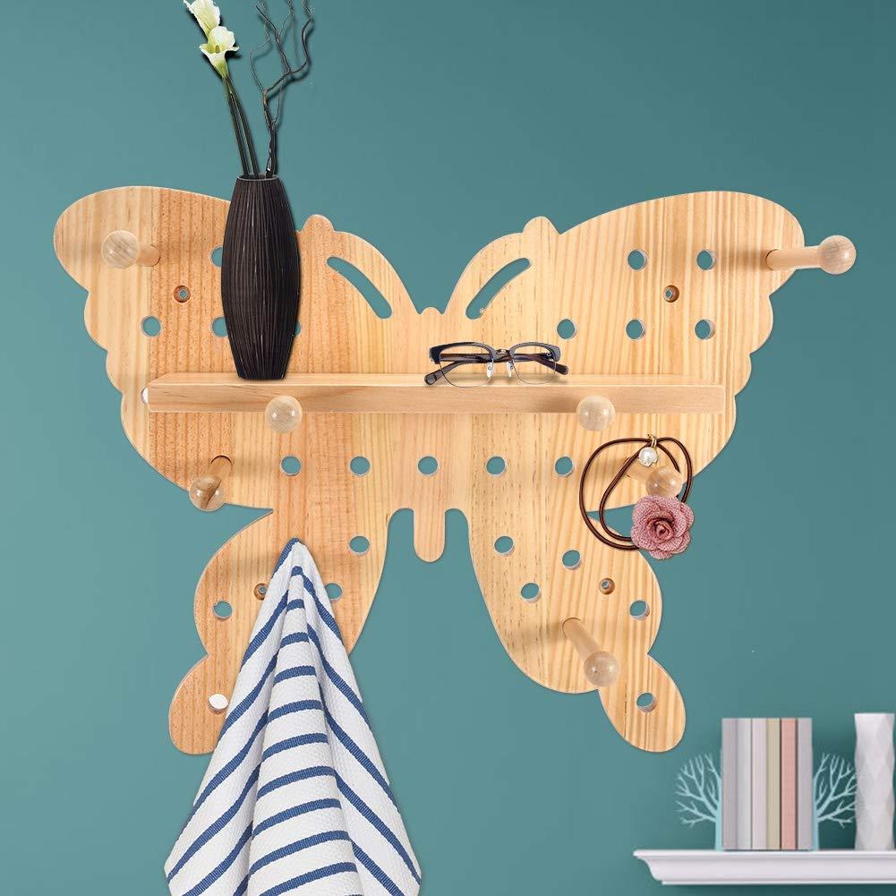 1# AUNMAS Mariposas suspensi/ón Hermoso Registro de Madera Estante de Almacenamiento de Agujero s/ólido Desmontable para la Oficina en casa Esquina de la Pared decoraci/ón de Roca