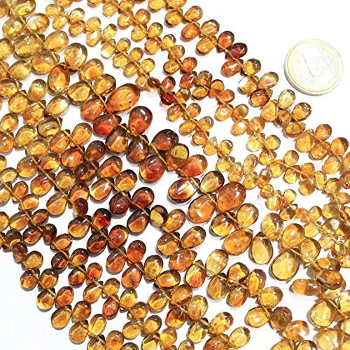 Beads Bazar Natural Beautiful jewellery Shaded Golden Citrine Pear Drop Gemstone Craft Loose Beads Strand 12