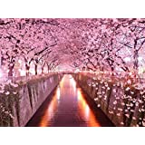 Cherry Blossom Tunnel - Oil Painting On Canvas Modern Wall Art Pictures For Home Decoration Wooden Framed (24X36 Inch, Framed)