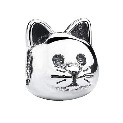 Abalorio de gato auténtico y curioso CZ® de plata de ley 925, compatible con pulseras Pandora y otras pulseras de abalorios europeas.
