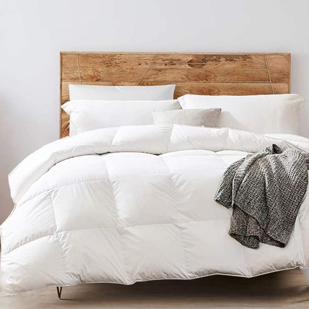 Yalamila Queen White Down Comforter with 100% Cotton Cover - Premium Quality White Goose Duck Down and Feather Filling - All Season Down Duver Insert or Stand Alone - Corner Tabs - Queen (90×90 inch)