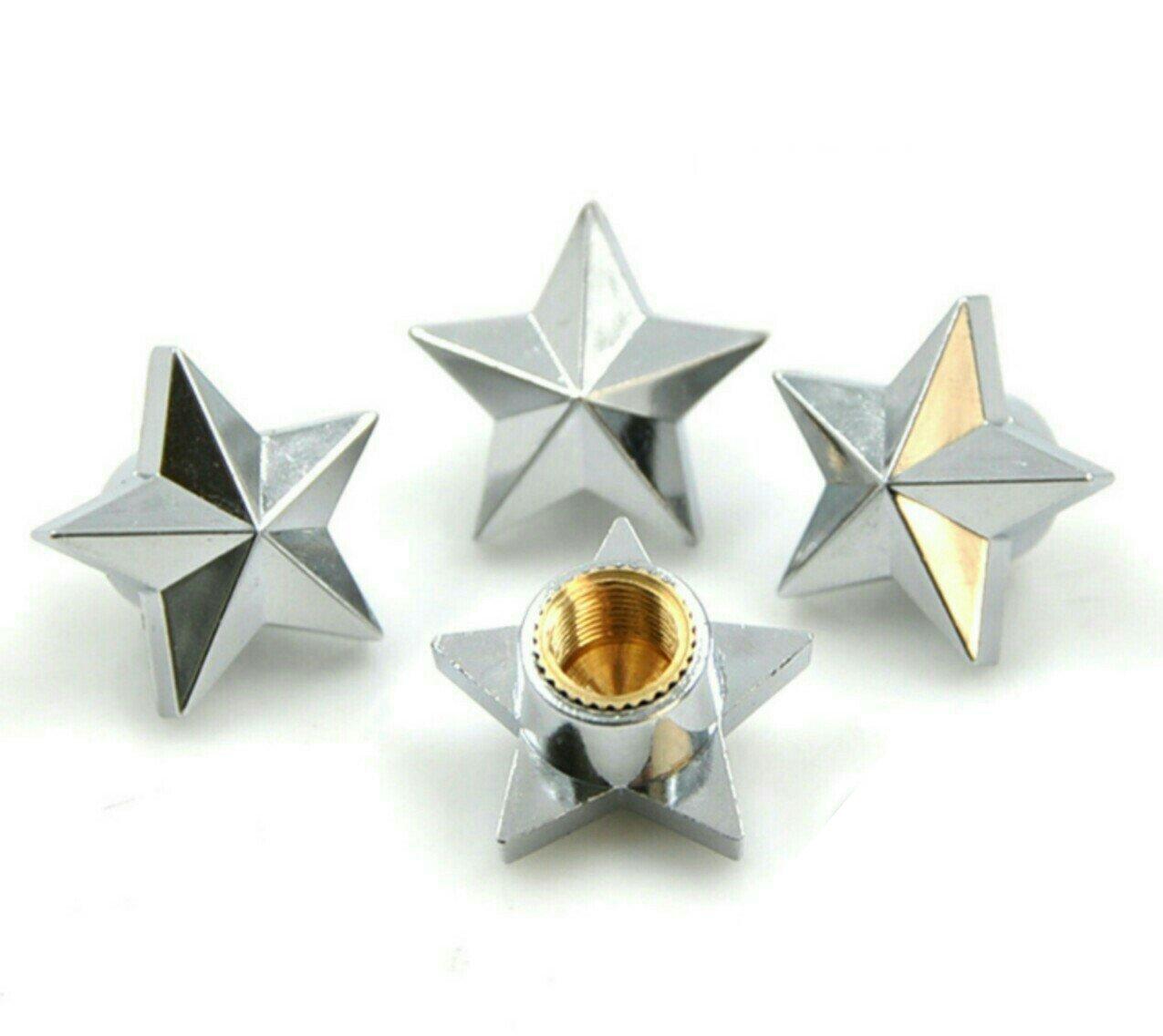 Set di 4 tappi coprivalvola a forma di stella argentata Antipolvere per i copertoni della macchina Materiale: lega