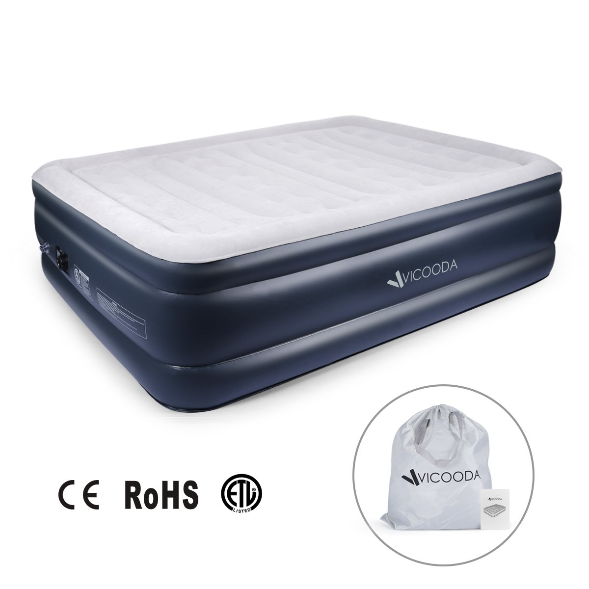 VICOODA Air Mattress, Blow Up Mattress Queen with Built-in Electric Pump [Upgraded & Easy Setup], 22 inch in Height, 650 lb in Capacity, PVC Materials, with a Storage Bag