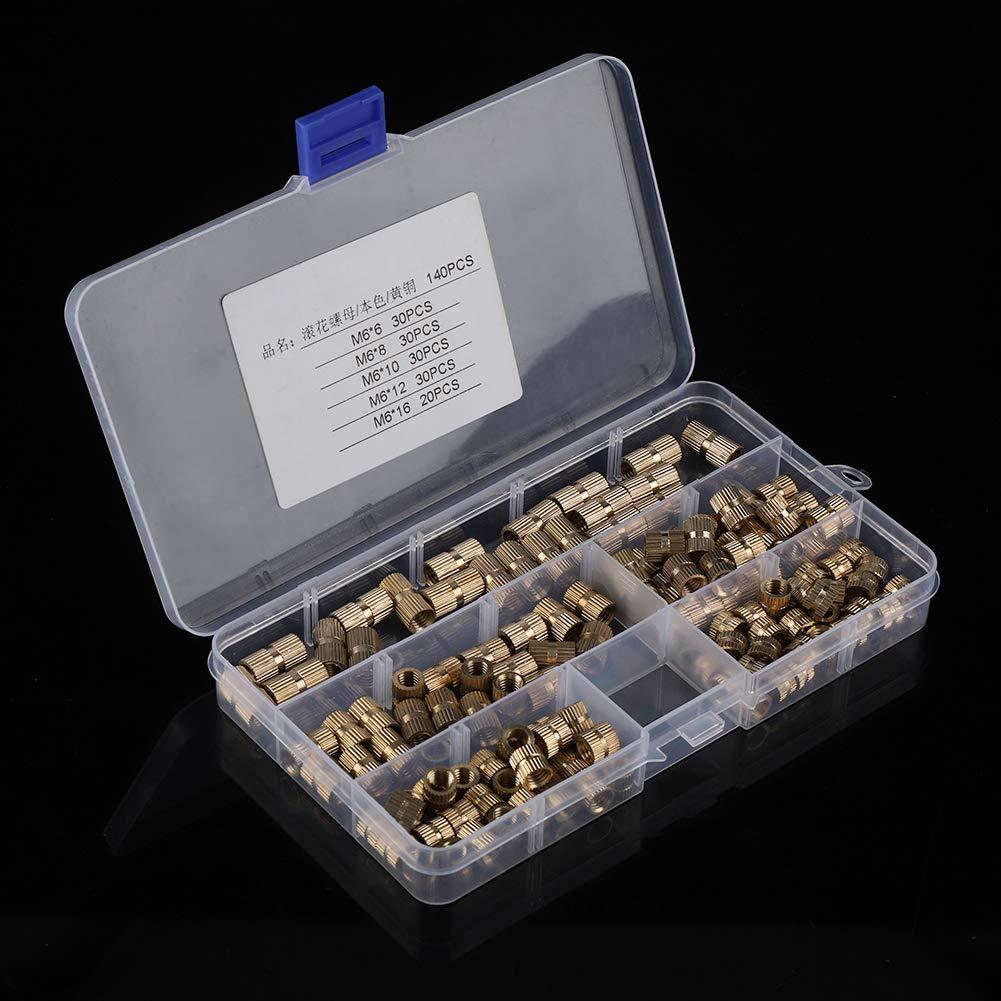 140pcs M6 Cilindro de lat/ón tuercas moleteadas con inserto redondo roscado Kit de tuercas de remache