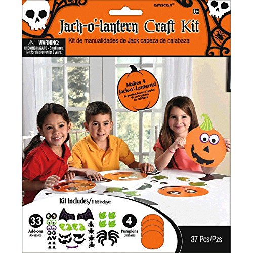 amscan Jack-O-Lantern Halloween Trick or Treat Party Art & Craft Activity Kit (Pack of 37), Multicolor, 7 3/4