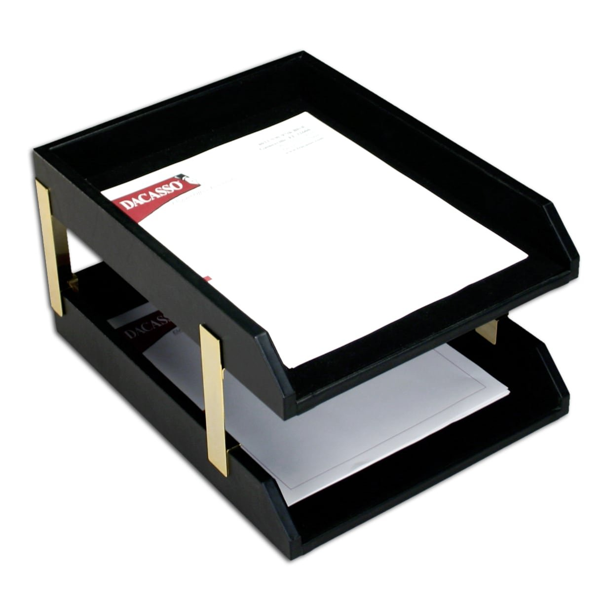 Dacasso Classic Black Leather Front Load Letter Trays With Gold Stacking Posts