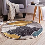 Area Rugs Stylish Round Carpet Bedroom Parlor Coffee Table Rug Computer Chair Pillow Modern Comfort Carpet Mat - Diameter 80cm (31in) ( Color : Yellow , Size : Diameter 80CM(31in ) )