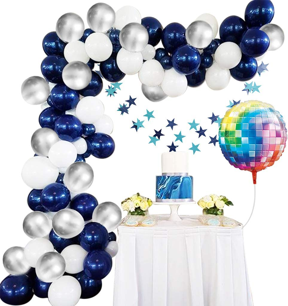 Amycute 93 pcs Globos de Azul Platas Blanco de Látex, Pentagrama Guirnalda Bandera Globos de Discoteca de Colores para Fiesta de Cumpleaños, Bodas, Decoración con Cadena de Globos: Amazon.es: Juguetes y juegos