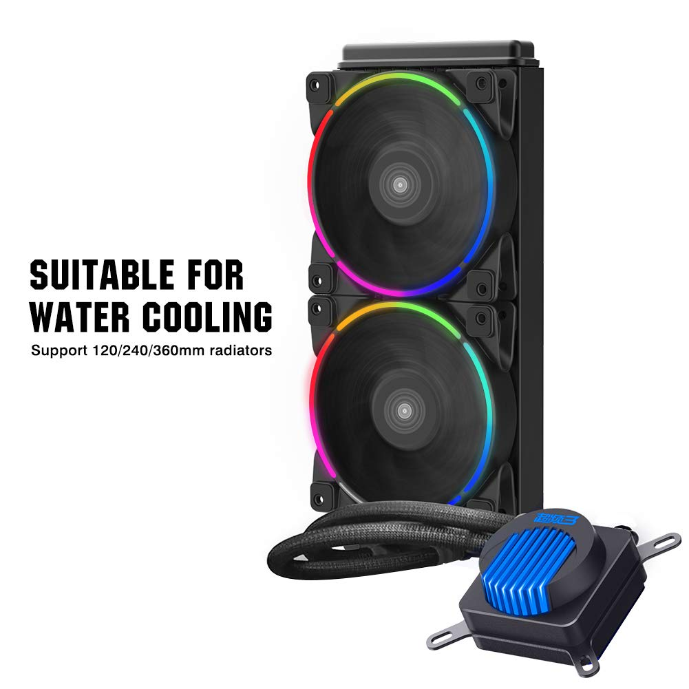 Pccooler 120mm Fan Moonlight Series, PC-3M120 RGB LED Computer Case Fan - PWM PC Cooling Fan - Dual Light Loop Quiet Fan/Multiple Light Modes with Controller for PC Cases, CPU Coolers (Multicolor) by PC Cooler (Image #7)