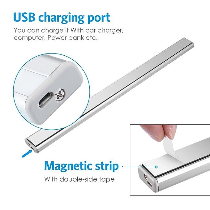 Amir Luz del gabinete del sensor de movimiento, (20 LED) Luz nocturna PIR recargable por USB, Instalación fácil con banda magnética, Lámpara de pared ...