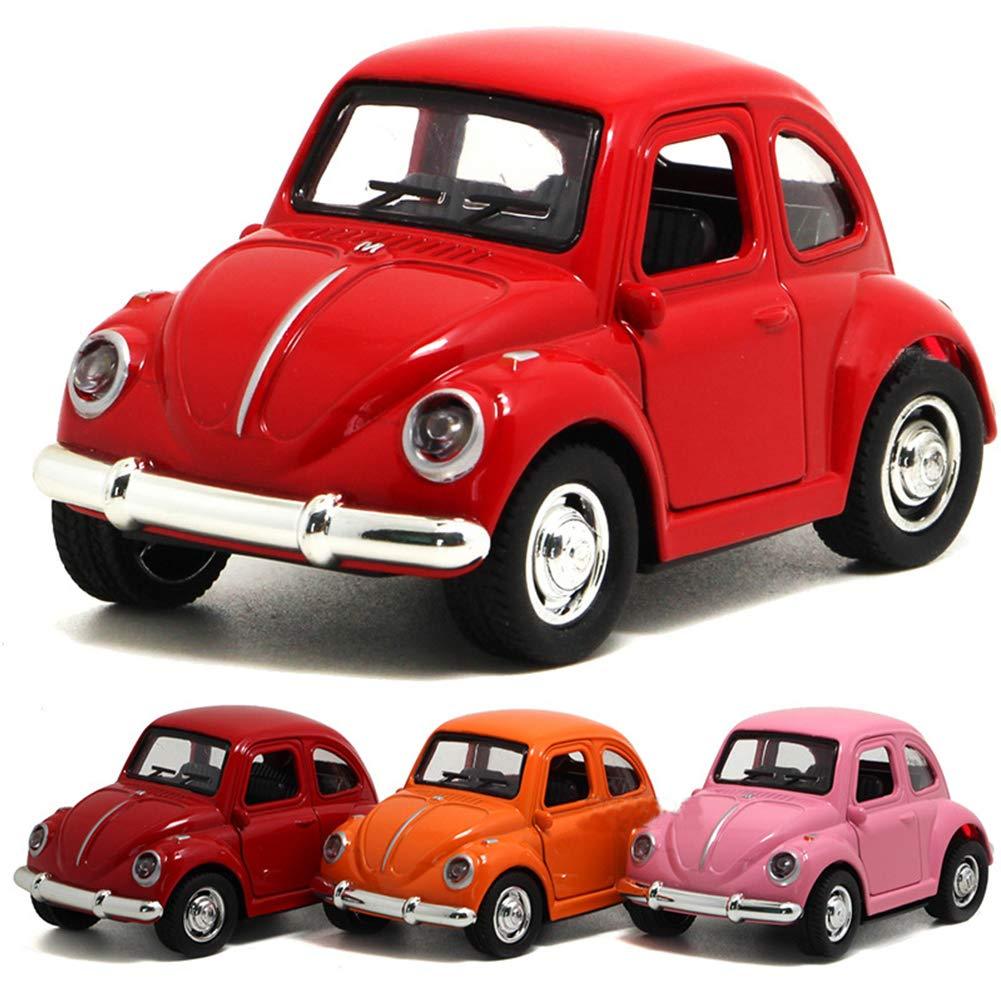 elegantstunning Auto Giocattoli Cars Middle Size Lega Pull Back DieCast Beetle Vintage Modello di Auto con Porte apribili/luci Musica/Halloween Borse per Bambini Beatles Vintage Car