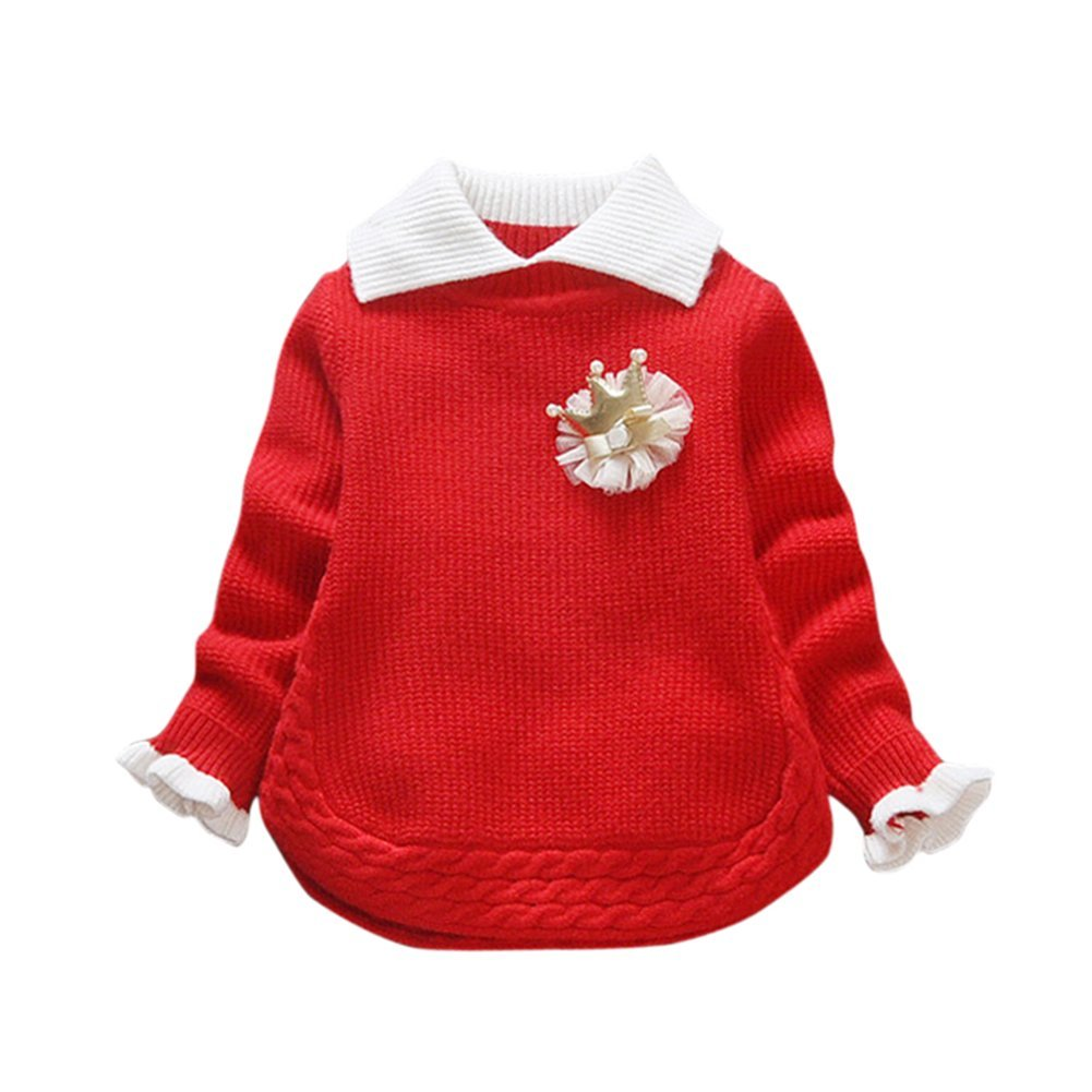 Drasawee Autumn Pullover Knitted Sweater Jumper for Kids Girls 0-3 Years JLQQ00654