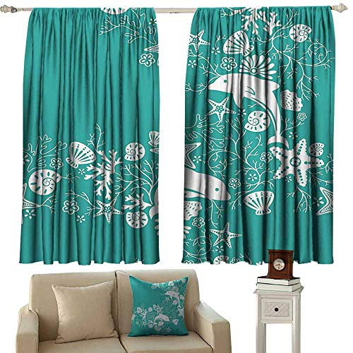 WinfreyDecor Sea Animals Classical Curtain Dolphins Flowers Sea Life Floral Pattern Starfish Coral Seashell Wallpaper Noise Reducing 63