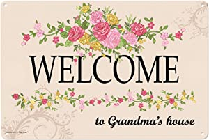Grandma Gifts Welcome to Grandma's House Metal Decorative Sign Home Decor Kitchen Sign Novelty Sign