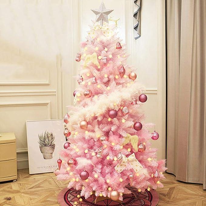 DULPLAY Blanco Pre-Decoradas Clásico Árbol De Navidad Artificial, Premium Abeto con Bisagras con Luces Multicolores para Interiores Aire Libre -Rosado 210cm(83inch)