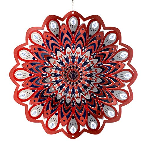 Exhart 3D Mandala Wind Spinner – Laser Cut Metal Mandala Art Hanging Décor w/Crystal Accent Beads – Red Mandala Hanging Wind Spinner, 3D Metal Art, Indoor/Outdoor Decor, 12 Inches