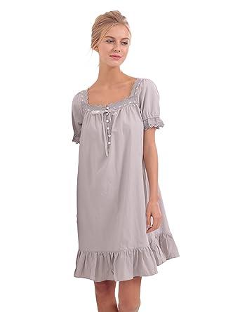 923acb0c4a BMJL Women s Woven Cotton Vintage Short Puff Sleeve Victorian Style Nightgown  Sleep Dress(XL