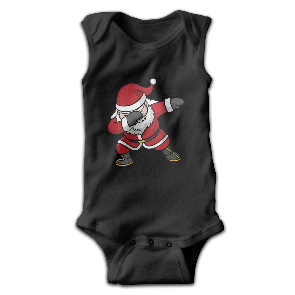 Dfenere Hip Hop Santa Newborn Baby No Sleeve Bodysuit Romper Infant Summer Clothing Black