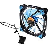 【ノーブランド 品】LED付き  3ピン/ 4ピン  120mmPWM PCコンピュータケースCPUクーラー用 冷却ファン コンピュータファン - ブルー