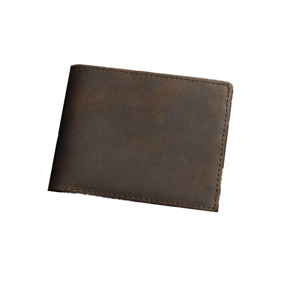 Bifold Multi Card Holder Purse Cartera de cuero genuino de los hombres Cartera de los hombres Cartera delgada de los hombres Bolsas de la muñeca del ...