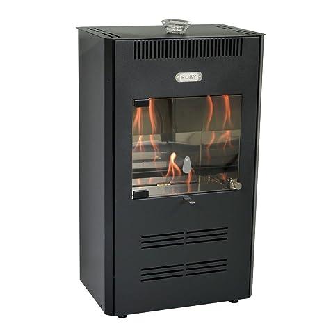 Stufa a bioetanolo 3000W ventilata telecomando nera riscaldamento ...