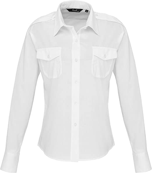 Mujer Manga Larga Camisa De Piloto - Blanco, Blanco, XL 16: Amazon.es: Ropa y accesorios