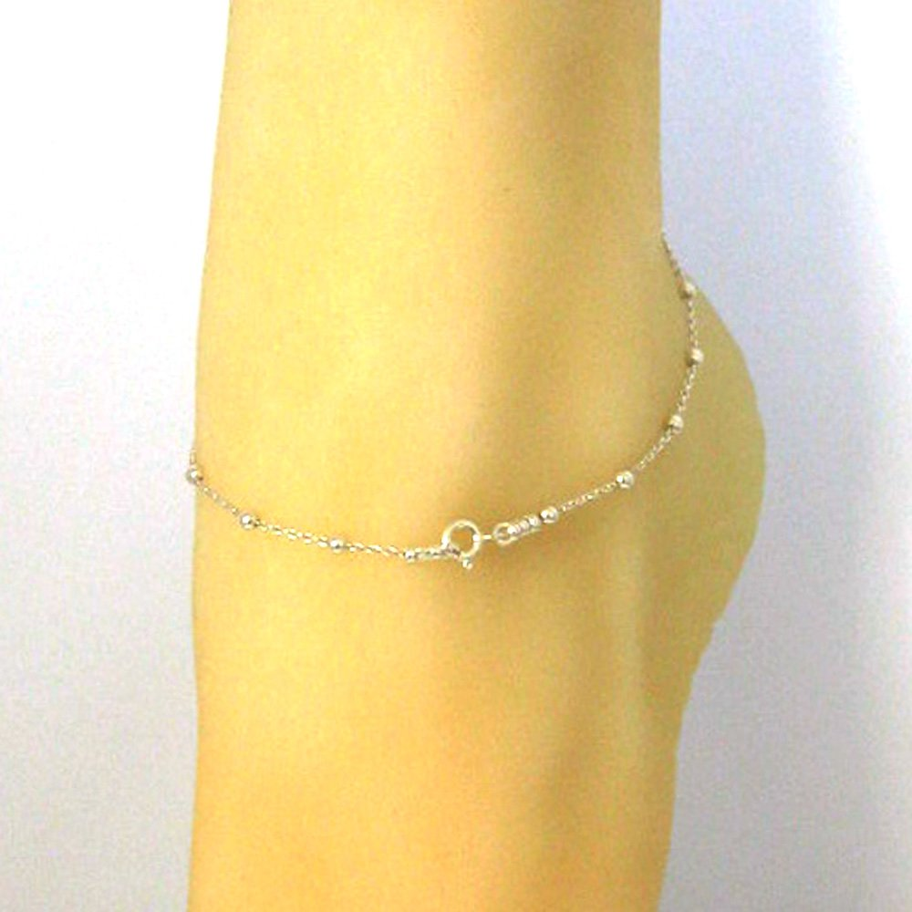 Bracelet Cable Chain with 3mm Ball Chain- All Sizes Sterling Silver Chain Necklace Anklet