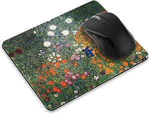 Non-Slip Rectangle Mousepad, FINCIBO Gustav Klimt Flower Garden Mouse Pad for Home, Office and Gaming Desk