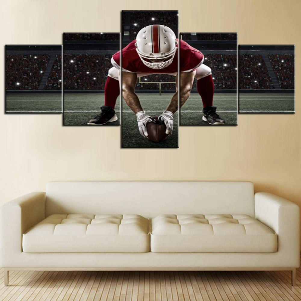 Contemporary Wall Art Pictures 5 PCS Canvas NFL Sports Painting American Football Football Player with Red Uniform Framed Artwork Home Decor for Living Room Gallery-wrapped Ready to Hang(50''Wx24''H)