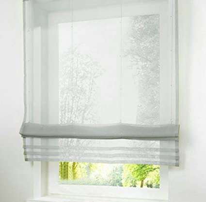 LivebyCare 40pcs Liftable Roman Shades Rod Pocket Sheer Balcony Window Curtain Voile Valance Drape Drapery Panels For Bedroom Decor Decorative Simple Roman Shades Bedroom Style Collection