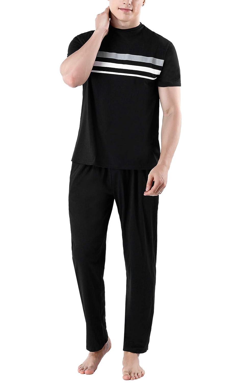 Herren Schlafanzug Kurz Zweiteiliger Pyjama Sets Nachtw/äsche Set f/ür Sommer