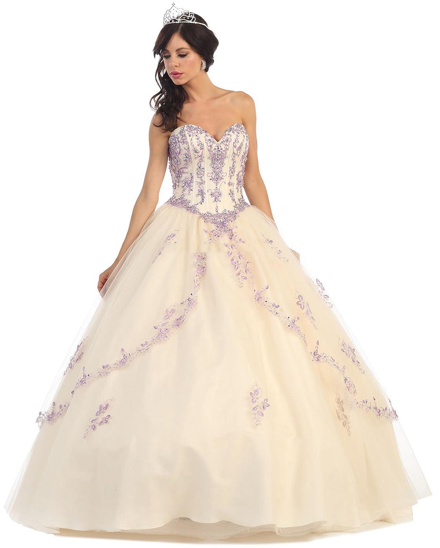 Champagne purplec Layla K LK61 Quinceañera Ball Gown