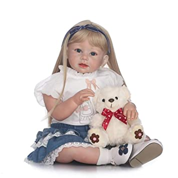 Zero Pam Reborn Baby Dolls Blonde Hair Lifelike Toddler Simulation Soft Silicone Viny Realistic Girl Toys Clothes 24 inch Prime Gifts