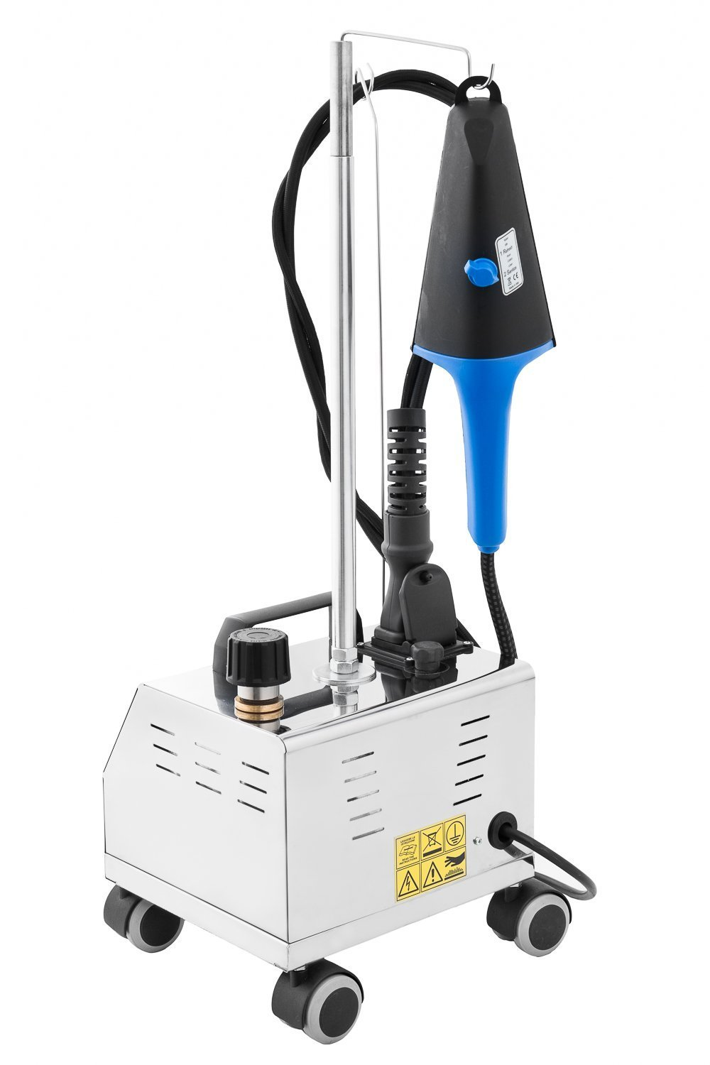 EOLO Steam brush for vertical ironing with energy saving copper boiler and external anti-scale resistor AV02 INOX Pro1 - 110-120 Volts