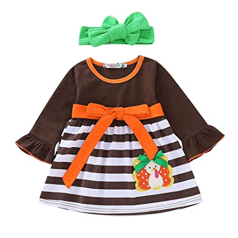 adda455de Fineser Baby Clothes Christmas Girl Dress, Adorable Infant Baby Girls  Cartoon Turkey Thanksgiving Day Striped