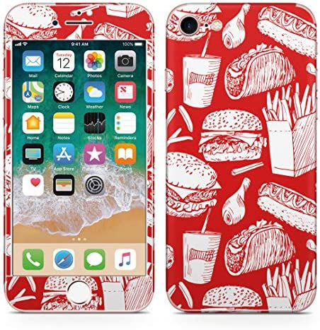igsticker iPhone SE 2020 iPhone8 iPhone7 専用 スキンシール 全面スキンシール フル 背面 側面 正面 液晶 ステッカー 保護シール 012912 ハンバーガー ポテト 食べ物