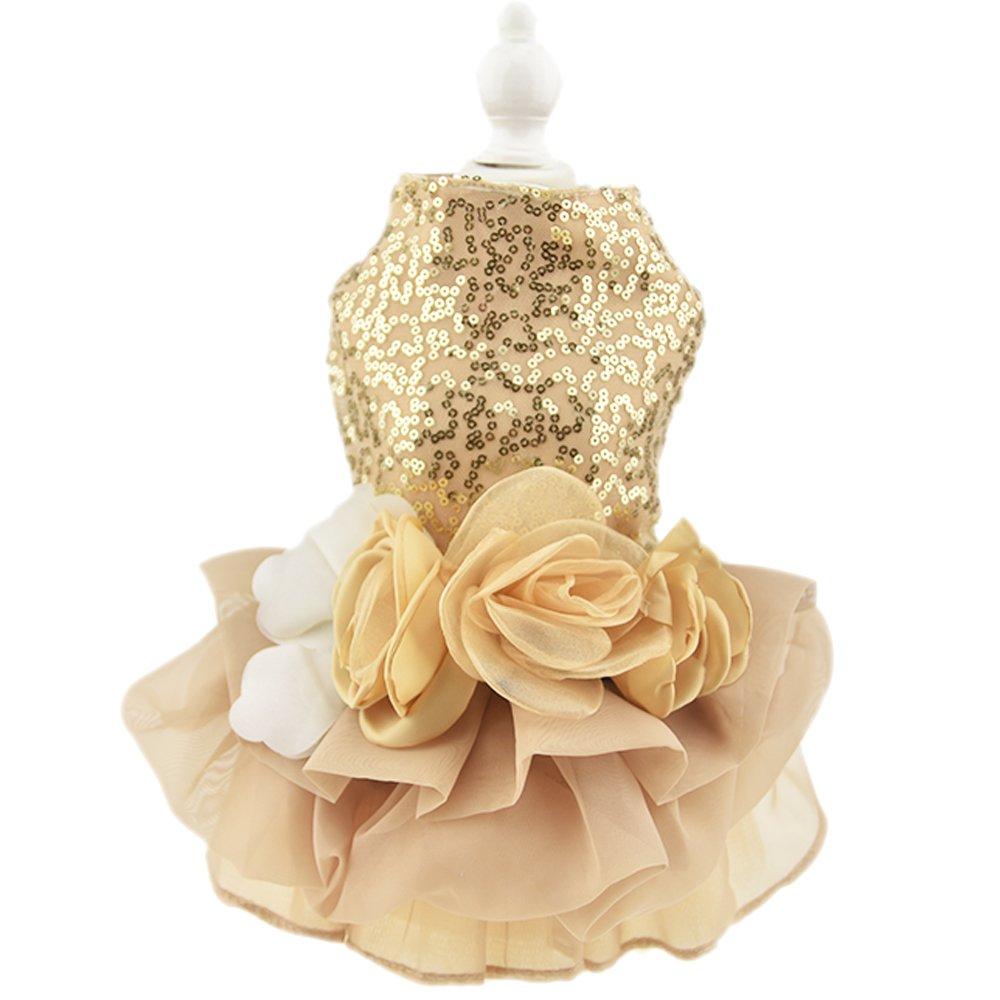 Biling Dog Dress Tutu Skirt Flower Dog Pet Cat Luxury Princess Wedding Dress Summer Dog Chihuahua Clothes (S, Gold)
