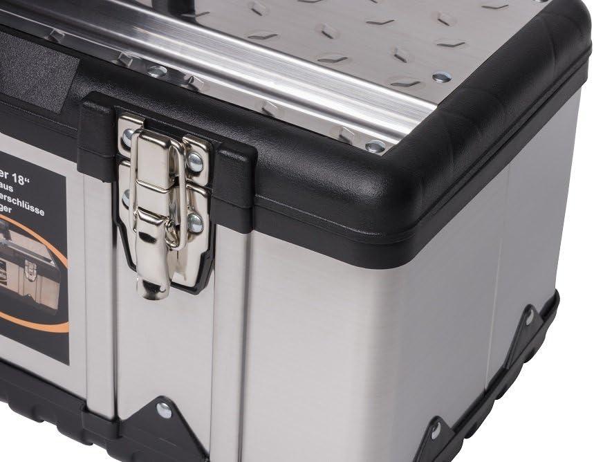 Kreher Profi 18 Mallette /à outils XL de qualit/é professionnelle en acier inoxydable avec cadre en plastique robuste et porte-outils amovible Verrouillable gr/âce aux fermetures en m/étal Dimensions 47 x 23,8 x 20,3 cm