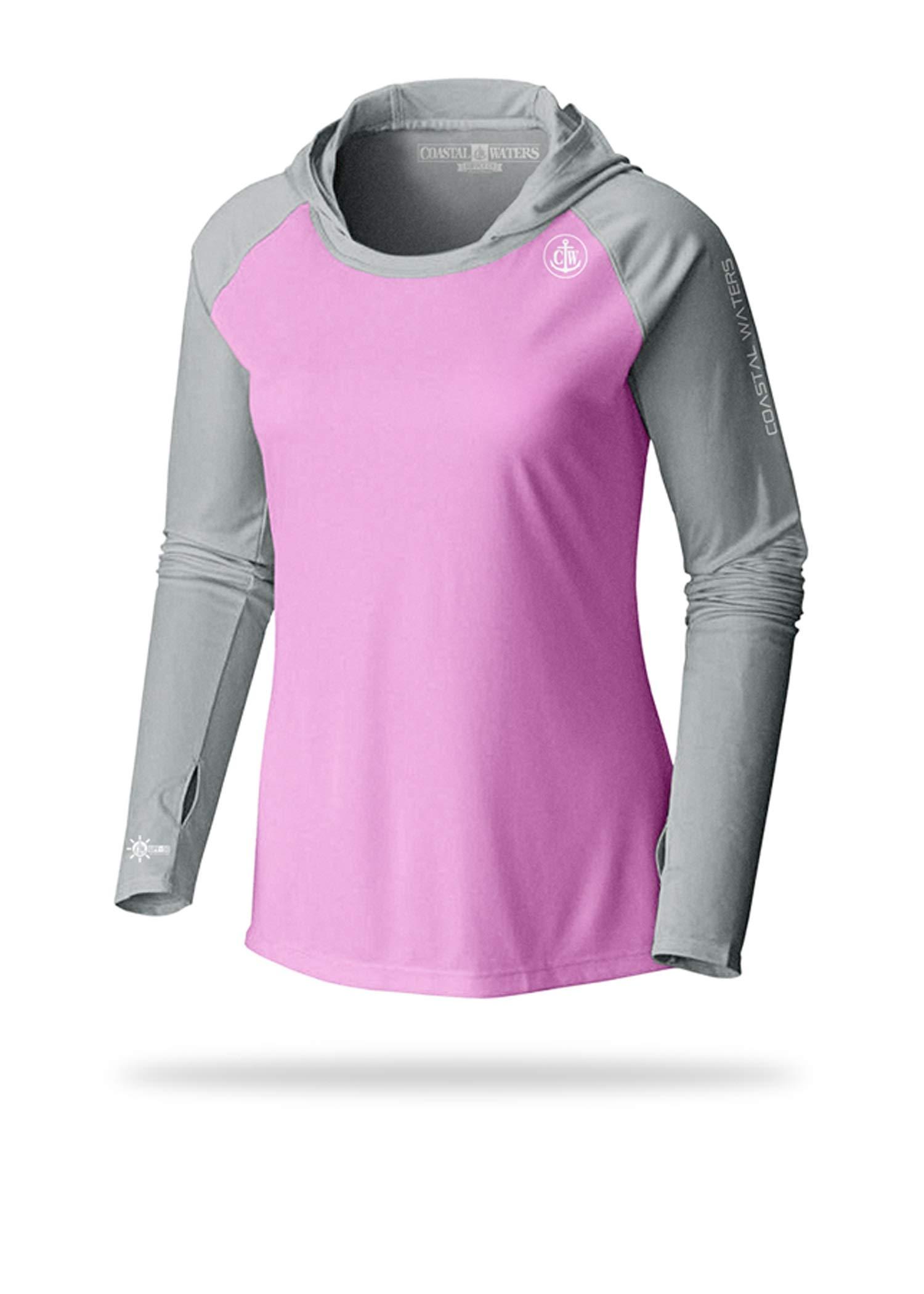 Women's Hooded Raglan Sun Protection (Pink/Grey, Large)
