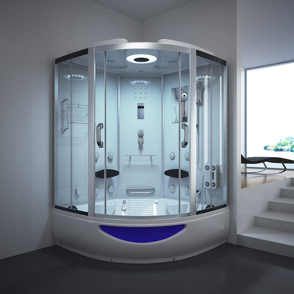 Home Deluxe Templo de ducha Exclusive, incluye Whirlpool y vapor Sauna (Color Blanco): Amazon.es: Bricolaje y herramientas