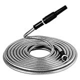 Beaulife 304 Stainless Steel Garden Metal Hose 50 FT with Nozzle Never Kink Lightweight Flexible Tangle Resistant for Watering Lawn, Yard Garden, Car Wash, Washing Pets