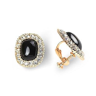 71c05fbb9 Screw Back Earrings Black Clip on Rhionstone Diamond Earrings Antique  Jewelry Ear Clip for Women: Amazon.co.uk: Jewellery