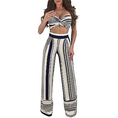 Mosstars Moda Mujer Rayas de Rayas en Pecho Tops + Cintura ...