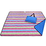 Roebury Picnic Blanket & Beach Blanket - Large Oversized Water-Resistant Sandproof Mat for Outdoor Travel or Camping Folds into a compact Tote Bag [Wave Design - Blue Back]