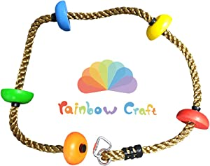 Rainbow Craft Colorful Climbing Rope for Kids Play 6.5ft with 5 Knotted Foot - Kids Rope, Ninja Rope, Climbing Rope for Swing Set Accessories