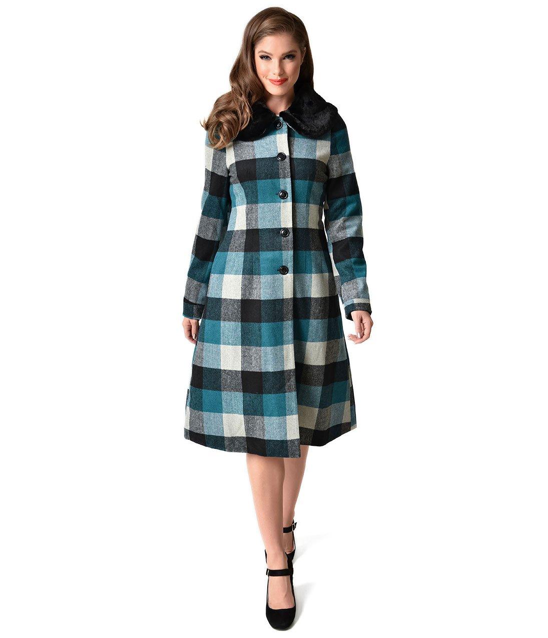 Voodoo Vixen Blue & Black Plaid Wooly Beatrice Coat