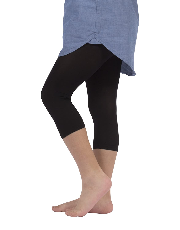Black CALZITALY 2 Pairs Girls Cropped Leggings 40 DEN Capri Footless Pants White Italian Hosiery |
