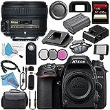 Nikon D7500 DSLR Camera (Body Only) 1581 AF-S 50mm f/1.8G Lens 2199 + 58mm 3 Piece Filter Kit + 256GB SDXC Card + Card Reader + Professional 160 LED Video Light Studio Series Bundle